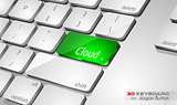 Cloud computing Concept 3D real look keybord