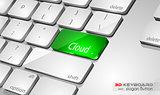 Cloud computing Concept 3D real look keybord