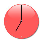 Shiny red wall clock with glossy place and with black hands, with shadow on white background