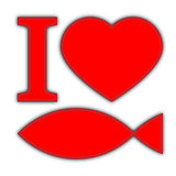 I love fish, red symbols on white background with shadow