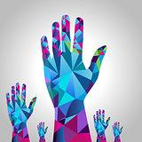 Polygon Raised Hand