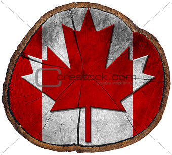 Canadian Flag on Section of Tree Trunk