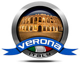 Verona Italy - Metal Icon with Arena