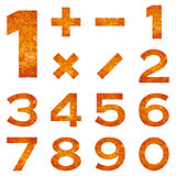 Numbers set, orange lava