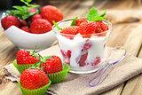 Jogurt with strawberry