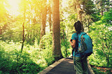 woman hiker at forest trail