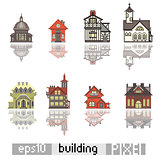 Set of Pixel art isometric building