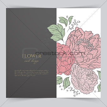 Card template with floral