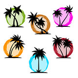 Palm silhouette color set