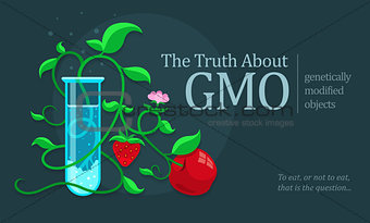 GMO genetically modified fruits growing in test tube