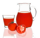 tomato juice in glass and carafe