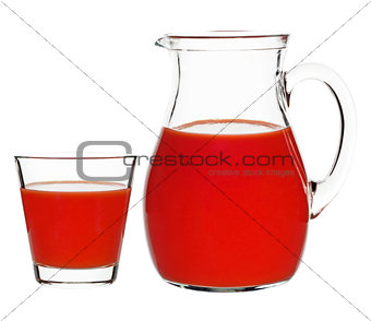tomato juice in a glass and a carafe