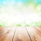 Summer nature background with wooden table
