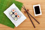 Sushi maki set and soy sauce