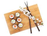 Sushi maki set with salmon and cucumber and sakura branch