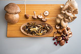 Closeup on mushrooms on cutting board