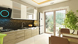 3D rendering modern kitchen design