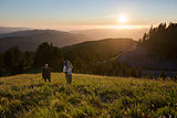 Sunset hike through alpine meadows