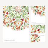 Set of business card and invitation card templates with floral o