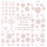 Set of vector geometrical patterns. Vintage textures.