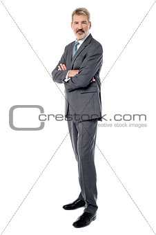 Smiling arms crossed senior businessman