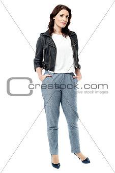 Beautiful young woman posing casually