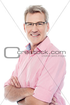 Smiling aged man isolated over white