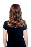 Casual woman from behind, isolated on white