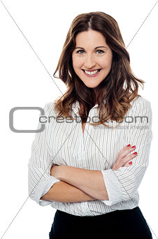 Beautiful female in casuals, arms crossed