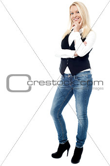 Smiling business woman, isolated on white