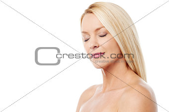 Beautiful woman with bare shoulders