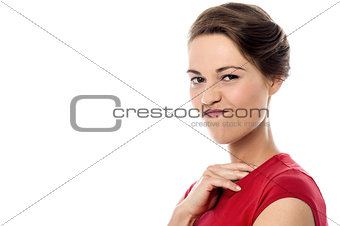Beautiful woman with grimace on her face