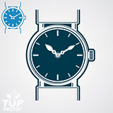 Vector classic wristwatch illustration, elegant detailed quartz