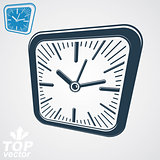 3d vector square wall clock with black dial, simple version incl