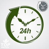 Graphic web vector 24 hours timer, around-the-clock flat pictogr