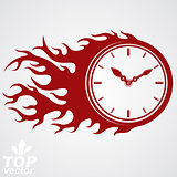Time runs fast concept, vector timer with burning flame. Eps 8 h