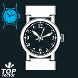 Vector white wristwatch illustration isolated on dark background