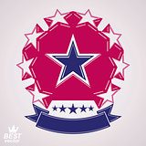 Vector corporate design element, celebrative stars web emblem. U