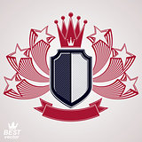 Royal stylized vector graphic symbol. Shield with 3d flying star