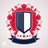 Royal stylized vector graphic symbol. Shield with 3d stars and d