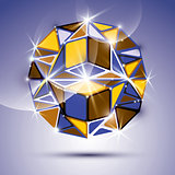 3D shiny mirror ball isolated on violet background. Vector fract