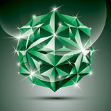 Party 3D green shiny disco ball. Vector fractal dazzling abstrac