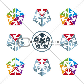 Abstract unusual vector symbols set, creative stylish icon templ