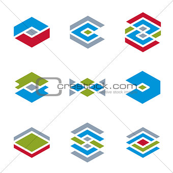 Abstract unusual vector icons set, creative symbols collection,