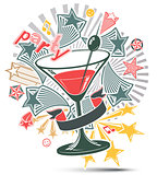 Festive illustration with musical notes and glass martini goblet