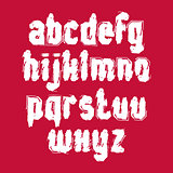 Vector white graffiti hand-painted letters isolated on red backg