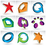 Set of 3d mesh colorful abstract objects isolated on white backg