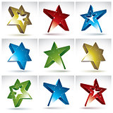 Set of 3d mesh stars isolated on white background, collection of