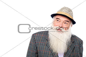 Old man with hat, looking up.