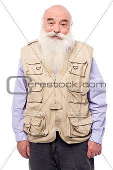 Old man wearing sleeveless jacket